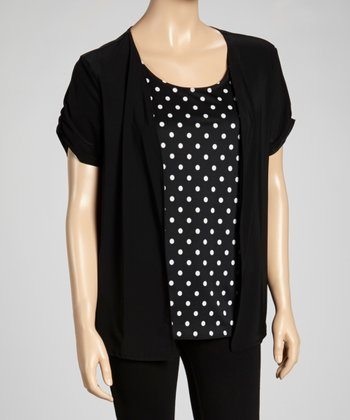 Black & White Polka Dot Layered Top