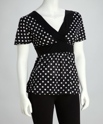 Black & White Polka Dot Surplice Top