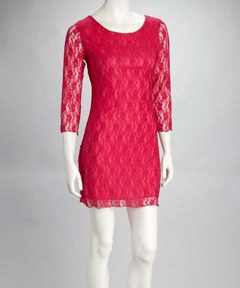 Fuchsia Lace Scoop Neck Dress