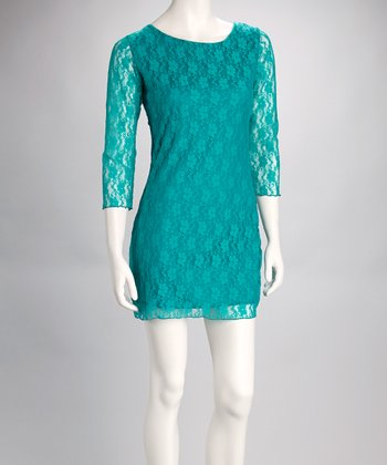 Jade Lace Scoop Neck Dress