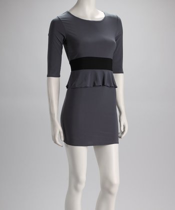 Charcoal & Black Peplum Dress