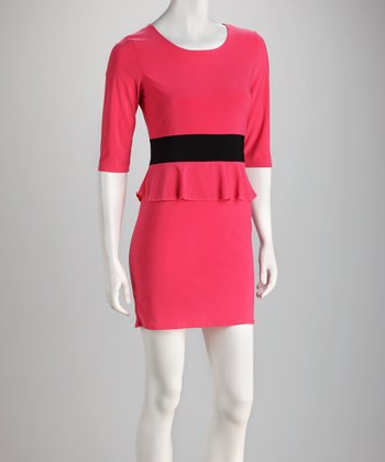 Fuchsia & Black Peplum Dress