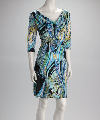 Royal & Yellow Abstract Drape Dress