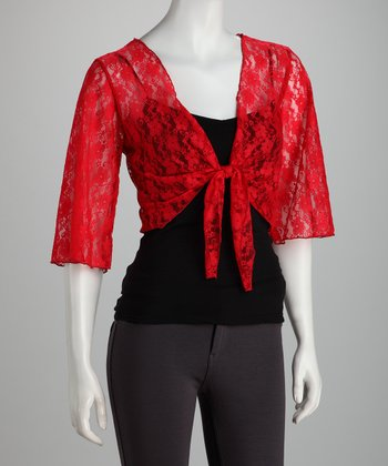 Red Crocheted Shrug