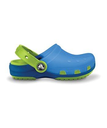 Crocs Light Blue & Volt Green Translucent Chameleons Clog - Kids