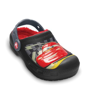 Black & Charcoal Cars Glow-in-the-Dark Clog - Kids
