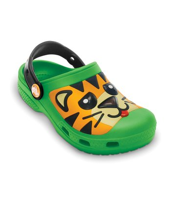 Lime Green & Black Creative Crocs Tiger Clog - Kids