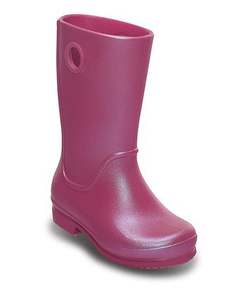 Fuchsia Wellie Iridescent Rain Boot - Kids
