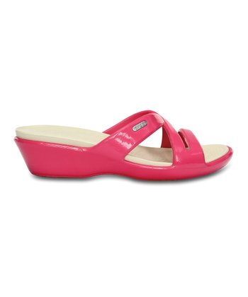 Hot Pink & Stucco Patent Patricia II Wedge Slide - Women