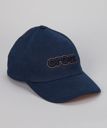 Navy & Orange Stretch Baseball Cap - Adult