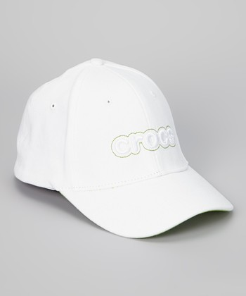 White & Green Stretch Baseball Cap - Adult