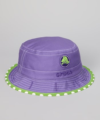 Purple & Lime Dot Reversible Bucket Hat - Girls