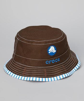 Espresso & Sea Blue Stripe Reversible Bucket Hat - Boys