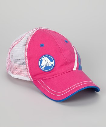 Fuchsia & White Retro Trucker Hat - Kids