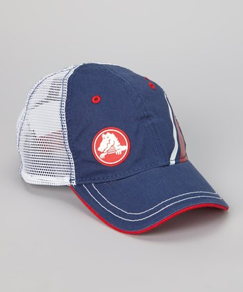 Navy & White Retro Trucker Hat - Kids