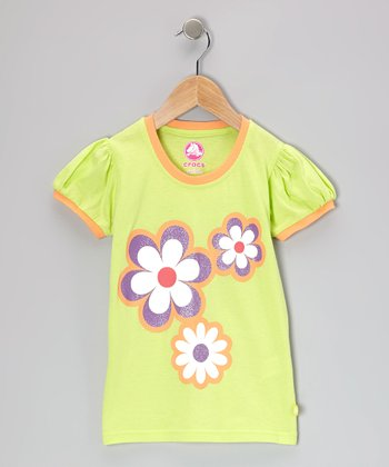 Celery & Cantaloupe Jersey Puff-Sleeve Tee - Toddler & Girls