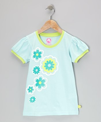 Sea Foam & Celery Jersey Puff-Sleeve Tee - Toddler & Girls
