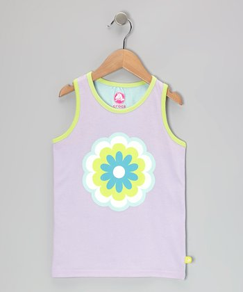 Iris & Sea Foam Flower Jersey Tank - Girls