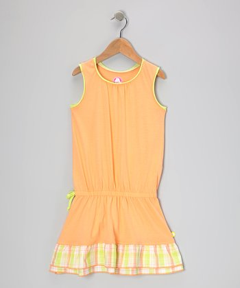 Cantaloupe & Celery Plaid Drop-Waist Dress - Toddler & Girls