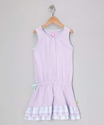 Iris Plaid Jersey Drop-Waist Dress - Girls