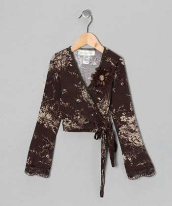 Brown Floral Wrap Top - Girls