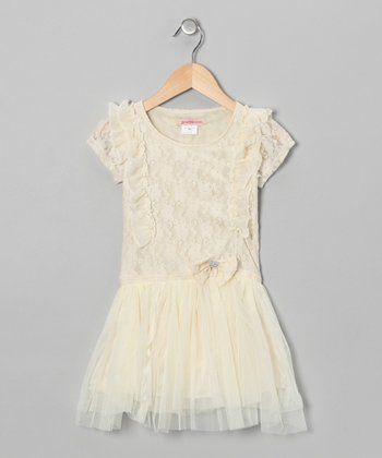 Ivory Lace Ruffle Dress - Girls