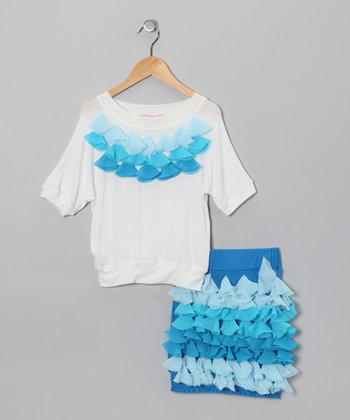 Blue & Off-White Petal Top & Skirt - Girls