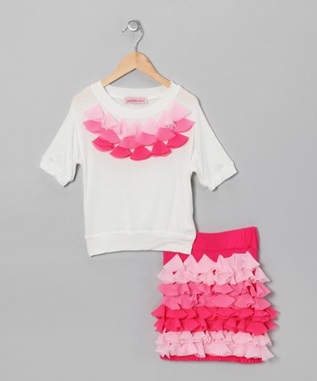 Pink & Off-White Petal Top & Skirt - Girls