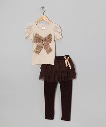 Khaki Bow Top & Coffee Skirted Leggings - Toddler & Girls