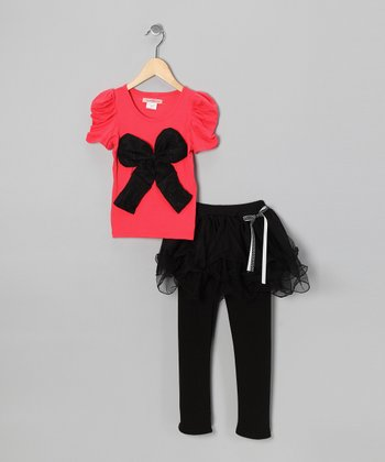 Red Bow Top & Black Skirted Leggings - Toddler & Girls