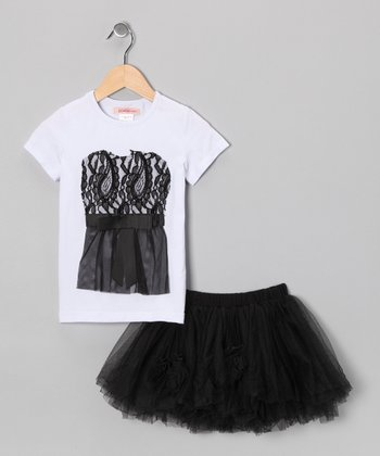 White Lace Tee & Black Tulle Skirt - Toddler