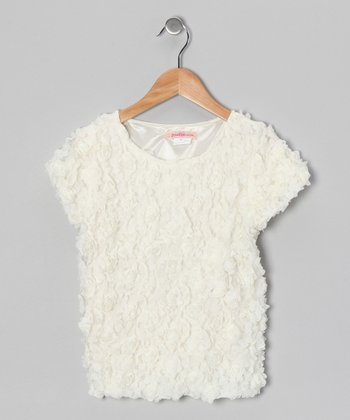 Cream Rosette Top - Girls