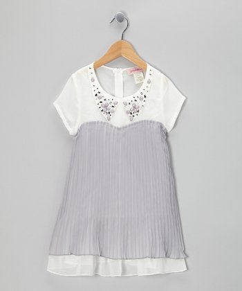 Gray Jewel Collar Tunic - Girls