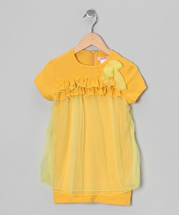 Yellow Ruffle Tulle Tunic - Toddler & Girls