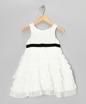 White & Black Velvet Ruffle Dress - Toddler & Girls
