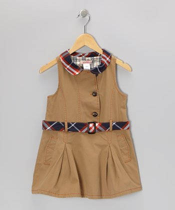 Khaki Plaid Collar Button-Up Dress - Toddler & Girls