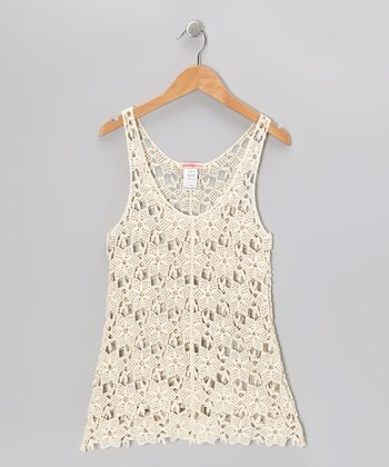 Off-White Crocheted V-Neck Dress - Toddler & Girls