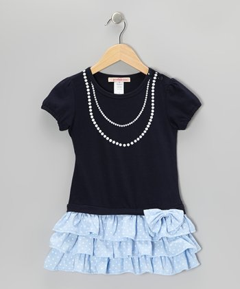 Navy & Blue Pearl Polka Dot Tiered Dress - Toddler
