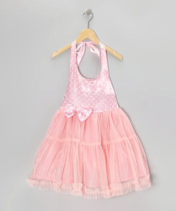 Pink Polka Dot Bow Halter Dress - Toddler
