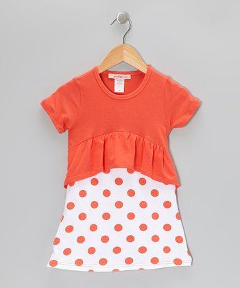 Orange & White Polka Dot Peplum Dress - Toddler