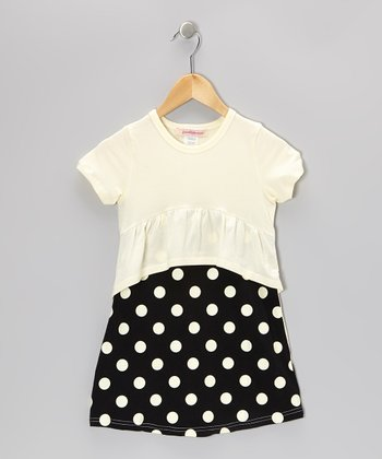 Yellow & Black Polka Dot Peplum Dress - Toddler