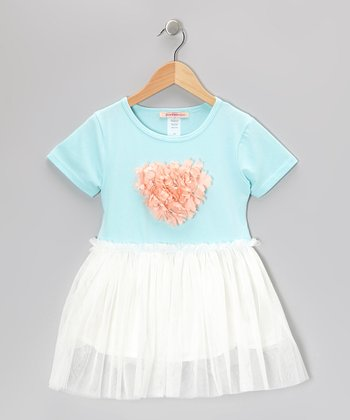 Blue & White Flower Heart Dress - Toddler & Girls
