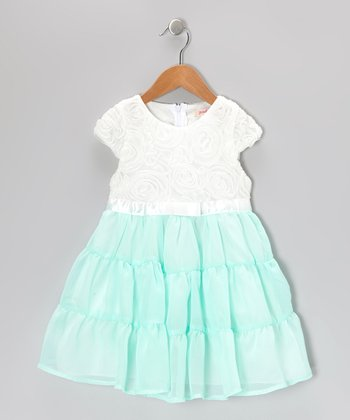 Turquoise & White Rosette Tiered Dress - Toddler & Girls