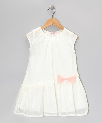 Off-White Swiss Dot Bow Dress - Toddler & Girls