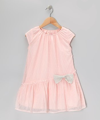 Pink Swiss Dot Bow Dress - Girls