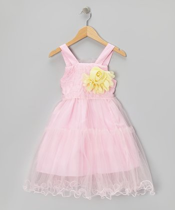 Pink Ruffle Rosette Dress - Toddler & Girls