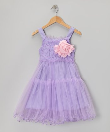 Purple Ruffle Rosette Dress - Toddler & Girls