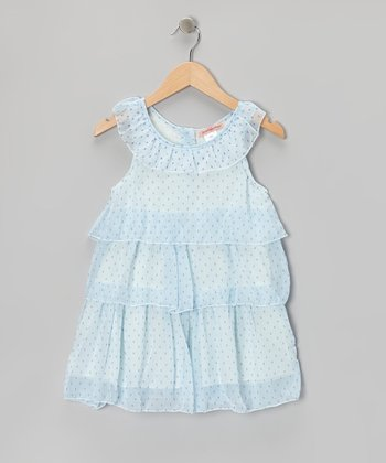 Blue Polka Dot Tiered Yoke Dress - Girls