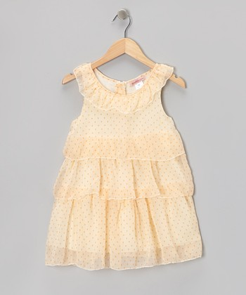 Peach Polka Dot Tiered Yoke Dress - Toddler & Girls