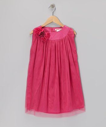 Hot Pink Floral Tulle Shift Dress - Toddler